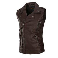 Wholesale Leather Vests For Men - The high-end washing Leather Vest Mens sleeveless Leather Motorcycle tide for men 2017 new leisure suit vest pocket solid color
