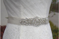 ingrosso cinture di raso di sequin-Cintura New Sashed Cintura in raso di seta fatti a mano fiori con cristallo scintillante perline paillettes Cinturino in oro bianco champagne