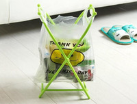 Wholesale plastic bag trash holder - Folding X-type Plastic Garbage Bag Rack Small Plastic Bag Hanging Storage Holder Portable Trash Home Kitchen Storage Rack