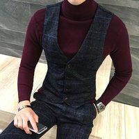 ingrosso sottile plaid gilet-Gilet di alta qualità spessa nuovi uomini gilet invernale lana plaid gilet moda uomo vestito formale gilet gilet slim fit gilet plus size colete