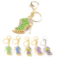 Wholesale high heel shoe pendants - high heel shoes key chains for women gold color crystal bag charm pendant accessories fashion jewelry party gift luxury keychain