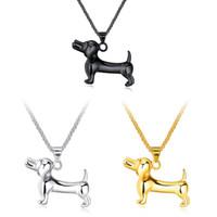 collar de acero del zodiaco al por mayor-Venta al por mayor nueva llegada Lovely Poodle Zodiac Dog acero inoxidable collares colgantes joyería de la vendimia para los hombres regalos envío gratis GX1284