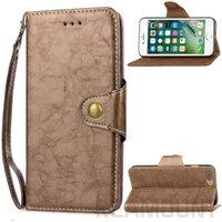 wachs iphone fall großhandel-Luxus Retro Wachs Öl Leder Flip Hülle für iPhone 7 Plus Business Style Lederbezug