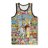 Wholesale neck vest - hot sale Newest Fashion Men Brand clothing Vest animation Cartoon Funny rick and morty 3d print Sleeveless Fitness Jersey vest