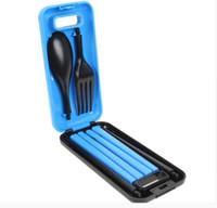 kits de palillos al por mayor-Material ABS ecológico 3 en 1 Picnic Protable Vajilla Palillos Cuchara Tenedor Caja de almacenamiento Camping exterior Kit de viaje