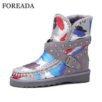 Wholesale Black Studded Platforms - FOREADA Genuine Leather Snow Boots Women Winter Waterproof Ankle Boots Fur Plush Warm Buckle Studded Shoes Platform Wedges
