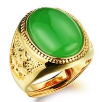 ágata piedra hombres anillo de oro al por mayor-NUEVO negro / rojo / verde ágata hombres anillo de piedra 18K chapado en oro recién llegado de alta calidad anillos del banquete de boda KJ035 hombres joyería