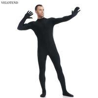 mens tam takım elbise toptan satış-Velotend Sıcak Tulum Leotard Kostüm Sıkı Tam Vücut Ayaklı Cilt Suit Mens Unitard Likra Bodysuit Zentai Catsuit Hoodless