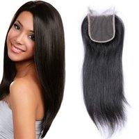 top de encaje suizo al por mayor-Malasian Virgin Hair Straight Lace Closure 4 * 4 pulgadas nudos blanqueados Parte libre del pelo humano Swiss Top Lace Cierres