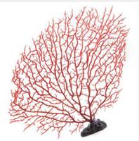 decoraciones de acuario de plástico al por mayor-Tanque de peces Planta de plástico artificial Coral Tree Decoración del acuario Adorno suave Adornos rojos para acuario