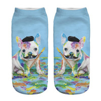 ingrosso artisti blu-1pair 3D Paint Paint Artist Dog stampato calzini corti Donna Uomo blu Low Cut caviglia Cartoon Cotton Character Character Sock