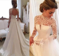 Wholesale Sexy Lace White Cheap Top - 2018 Gorgeous Long Sleeve Wedding Dresses With Sheer Neck Jewel Sexy Open Back Bridal Gowns Satin Vintage Wedding Dress Lace Top Cheap