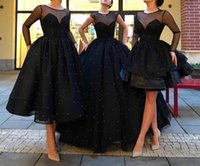 Wholesale Kinder Dresses - Three Kinds Of Styles Ball Gown Black Pearls Sheer Tiers Custom Made Graceful Evening Dress Evening Gown