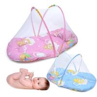 ingrosso molle materassi-Lettino pieghevole portatile per neonati con zanzariera letto estivo primavera con cuscino materasso YEC003