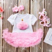 macacões cor de rosa ocasionais venda por atacado-Baby Girl Pink Aniversário Romper Moda New mangas curtas Partido Macacão Holiday Girls Casual Cotton Rompers