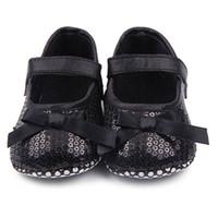 детская обувь оптовых-Kids Infant Baby Girl Bling Sequined Shoes Bow Decor Black First Walker Prewalker
