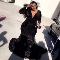 Wholesale 3d flowers dresses for sale - Plus Size Prom Dresses Black Mermaid Lace Plunging V Neck Long Sleeve Evening Gowns With D Flowers