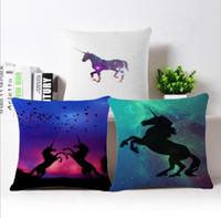 Wholesale Wholesale Geometric Pillow Cushion - 45*45cm unicorn pillow case cover Cartoon Cushion Covers Unicorn Print Pillow Case Throw Pillowcases Home Decoration KKA4403