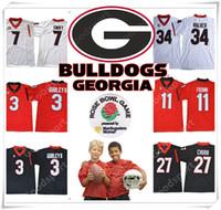 Wholesale Boy Walkers - YOUTH Rose bowl 2018 Georgia Bulldogs NCAA Jersey 3 GURLEY II 7 SWIFT 11 Jake Fromm 10 Jacob Eason 27 Chubb 34 Herschel Walker Jerseys