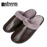 Wholesale men's slip canvas shoes online - Mntrerm Men s Slippers Winter Plush Warm Genuine Leather Home Indoor Non Slip Thermal Slippers New Hot Large Size Shoes