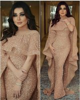 Wholesale picture bling - 2018 Bling Mermaid Evening Dresses with Long Cape Glitter Glued Lace Illusion Arabic Middle East Custom Made Plus Size Trumpet Prom Gowns