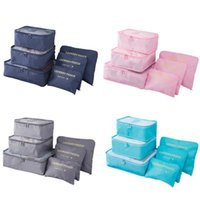 ingrosso vestiti rosa grigio-6pcs / set sacchetti di immagazzinaggio vestiti da viaggio impermeabile portatile imballaggio cubo di viaggio bagagli organizzatore sacchetto di stoccaggio borse grigio blu rosa