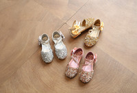 kids low heels NZ - 2018 Children Princess Glitter Sandals Kids Girls Soft Shoes Square Low-heeled Dress Party Shoes Pink  Silver Gold EUR21-36 JP323