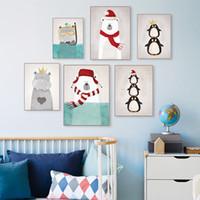 tríptico del arte moderno al por mayor-Tríptico Moderno Nórdico Kawaii Animales Oso Hipopótamo Pingüinos Impresión Del Cartel Arte de la Pared Imagen de la Lona Pintura Niños Habitación Decoración Sin marco