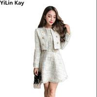 ingrosso pezzi di abbigliamento per le donne-YiLin Kay 2017 autunno inverno tweed due pezzi imposta abbigliamento donna manica lunga pulsante oro tweed cappotto mini vestito vestito maglia