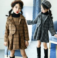 Wholesale Girls Three Piece Dresses - Fashion Children outfits winter new Lady style Girls plaid 3pcs sets Kids plaid lapel single-breasted outwear+vest dress+ Berry cap A00144