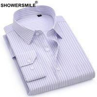 официальная одежда мужчины длинный рукав оптовых-SHOWERSMILE  Striped Shirt Men Cotton Formal Long Sleeve Shirt Male Slim Fit Smart Casual Office Wear Clothing New