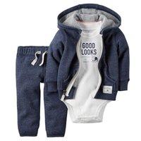 ingrosso marche di panno per neonati-New baby boy cloth 3 pezzi lotto full sleeve New born baby boy vestiti casual cotone moda abiti di marca