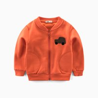 мужские куртки оранжевые оптовых-Милый ребенок дети пальто куртки мягкие outwears топы мальчики одежда хлопок молния весна осень автомобили оранжевый