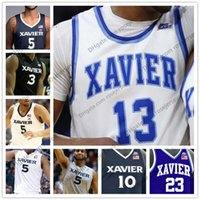 Wholesale Blue Marshall - NCAA Xavier Musketeers #13 Naji Marshall 0 Tyrique Jones 55 JP Macura 54 Sean O'Mara Stitched College Basketball white blue black Jerseys
