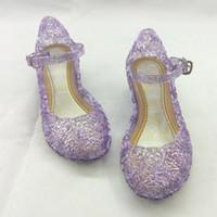 zapatos de la princesa azul de los niños al por mayor-Niña de los niños Princesa Sandalias Anime Cosplay Zapatos Moda Lolita Sweet Zapatos de los niños Cuña Hollow Zapatos de cristal púrpura azul 5 colores