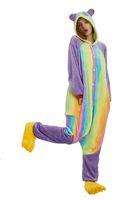 erwachsene tier onesie pyjamas groihandel-Erwachsene Regenbogen Panda Pyjamas Tier Kostüm Cosplay Onesie Halloween Geschenk