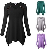 Wholesale 2019 New Sexy Womens Ladies Long Sleeve Button V Neck Baggy Irregular Swing T Shirt Tops Blouse Plus Size