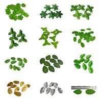 ingrosso wedding green garland-10 g / pacco Mini Green Christmas Leaves Foglie di fiori artificiali per la decorazione di nozze Rose Foliage Garland Craft 8Z