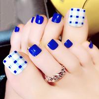 ingrosso le coperture del chiodo delle punte-24PCS / set Blue Toe Nails White Summer Toe Unghie finte Breve copertura completa Nail Tips Acrilico Fake Feet