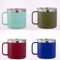 Wholesale lens china - Handle Cup Double Deck Tumbler Vacuum Mug 14OZ 304 Stainless Steel Sprayed Plastic Cold Insulation Hot Sale 40mb V