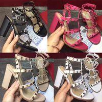 zapatos de cuero importados al por mayor-2018 zapatos de marca de estilo europeo de alta calidad importados de cuero sandalsdesigner femenino tiene etiqueta zapatillas de moda femenina de tacones altos