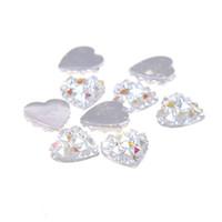 düz sırt taşı 14mm toptan satış-14mm 40 adet Kalp Şekli Yüksek Parlaklık Reçine Taklidi Flatback Taşlar Moda Tutkal Renkli DIY Düğün Elbise Aksesuarları