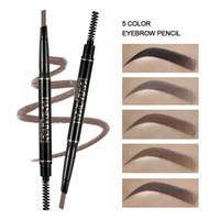 teintures pour sourcils achat en gros de-HANDAIYAN crayon à sourcils à rotation automatique 5 couleurs à double tête crayon à sourcils imperméable à l'eau ne donnant pas la vertige du teint triangle à sourcils penci