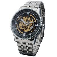 24f95a33382 SHENHUA Masculino Relógio Mecânico Caso Esqueleto Mecânico Automático dos homens  Relógio de Pulso de Aço Inoxidável Banda Relogios Masculino