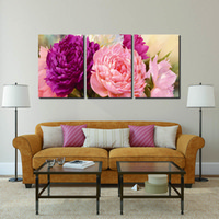 Wholesale Peony Flowers Pictures - 3 Panel Pictures Canvas Painting peony Flower Painting Wall Art Decorative Canvas Wall Art Modular Picture(Unframed)