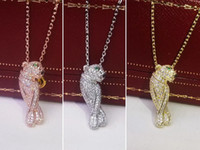 leopar altın yükseldi toptan satış-Bakır Takı Klasik Aristokrat Lüks Diamonds Tüy Leopar Çift Kolye 18 K Rose Gold Bayanlar Kolye Kolye