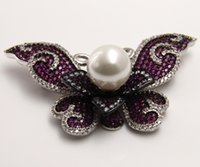 Wholesale Ancient Pearls - 2018 New Temperament of Restoring Ancient Ways Butterfly Shell Pearl Brooch Copper Zircon Clothing Accessories Chrismas Gift
