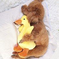 peluche perro amarillo al por mayor-Perro de juguete para mascotas sonando pato amarillo en forma de perro juguetes para masticar Squeaky Plush Toy Pet Shop suministros al por mayor
