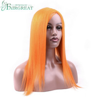 Wholesale mongolian human hair wigs resale online - Orange Color Head Seam Wig Peruvian Malaysian Indian Brazilian Mongolian Straight Human Hair Wigs Fairgreat Human Hair Wig