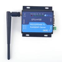 rj45 wifi groihandel-DTU H100 servidor Serielle Industrie CE FCC RoHs WIFI Serielle UART servidor RS232 RS485 ein RJ45 convertidor Ethernet interfaz STA